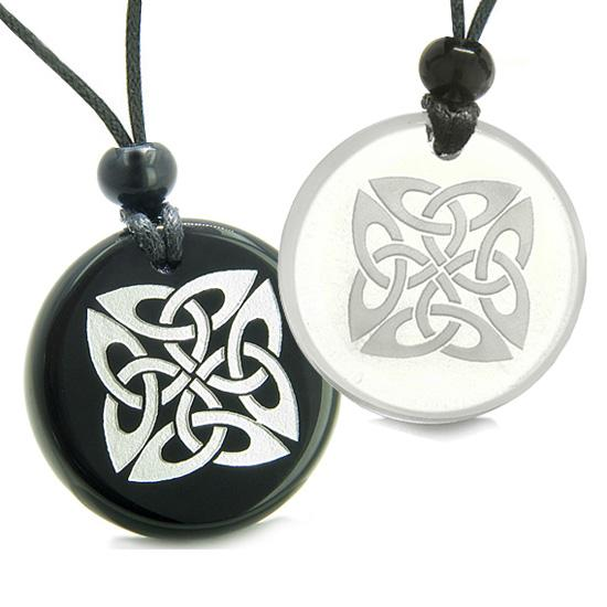 Amulets Love Couples Best Friends Life Protection Celtic Shield Ancient Magic Quartz Onyx Necklaces