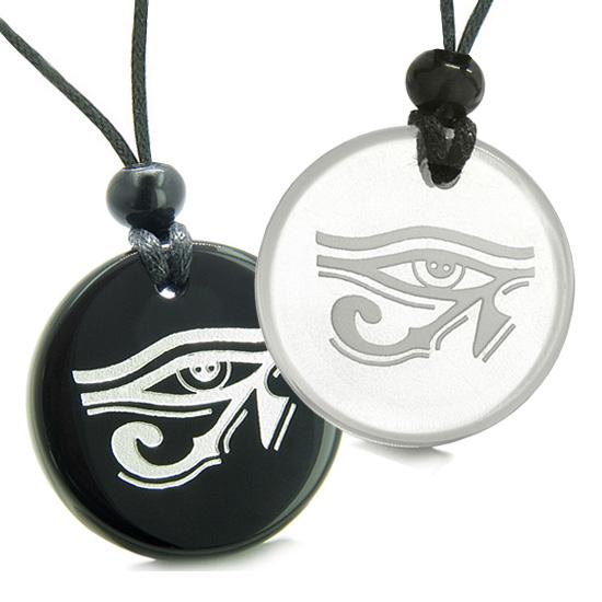 Amulets Love Couple or Best Friends All Seeing Eye of Horus Egyptian Quartz Onyx Pendant Necklaces