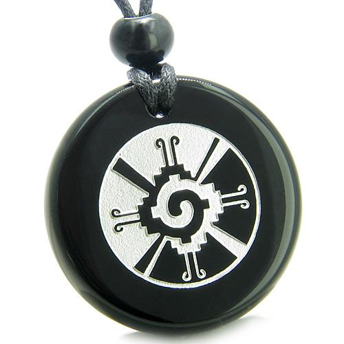 Amulet Mayan Unity of All Things Hunab Ku Protection Powers Black Onyx Medallion Necklace