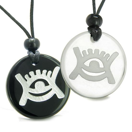 Amulets Couples Best Friends Universe Energy Supernatural All Seeing Eye Quartz Onyx Necklaces