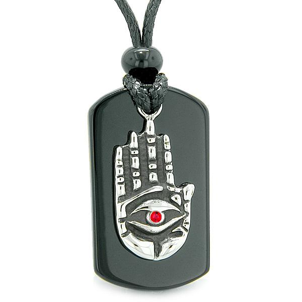 All Seeing Feeling Buddha Eye Hamsa Magic Powers Agate Tag Red Crystal Pendant Necklace