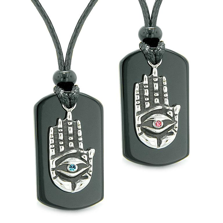 All Seeing Feeling Buddha Eye Hamsa Love Couples Black Agate Tag Pink Sky Blue Crystals Necklaces