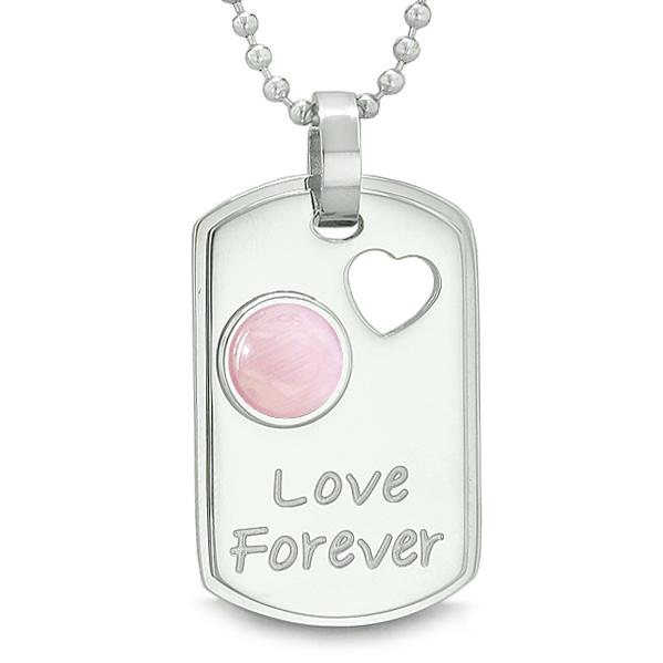Love Forever Heart Amulet Dog Tag Positive and Magic Energy Pendant Necklace