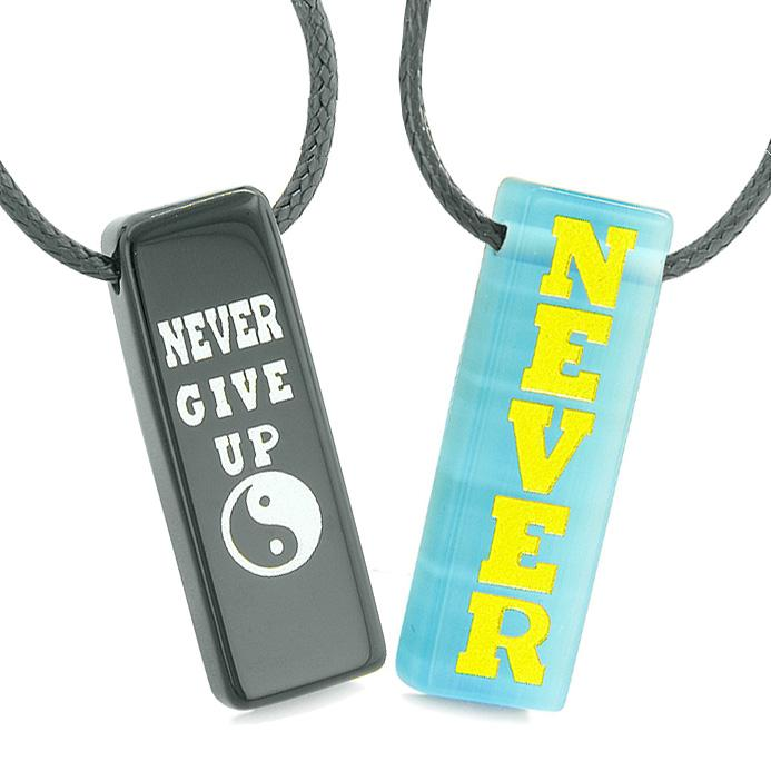 Never Give Up Amulets Love Couples Best Friends Yin Yang Blue Simulated Cats Eye Agate Necklaces
