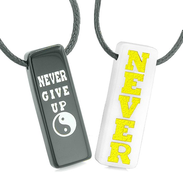 Never Give Up Amulets Love Couples or Best Friends Yin Yang White Quartz Black Agate Tag Necklaces