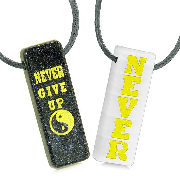 Never Give Up Amulets Couples Best Friends Yin Yang Goldstone White Simulated Cats Eye Necklaces
