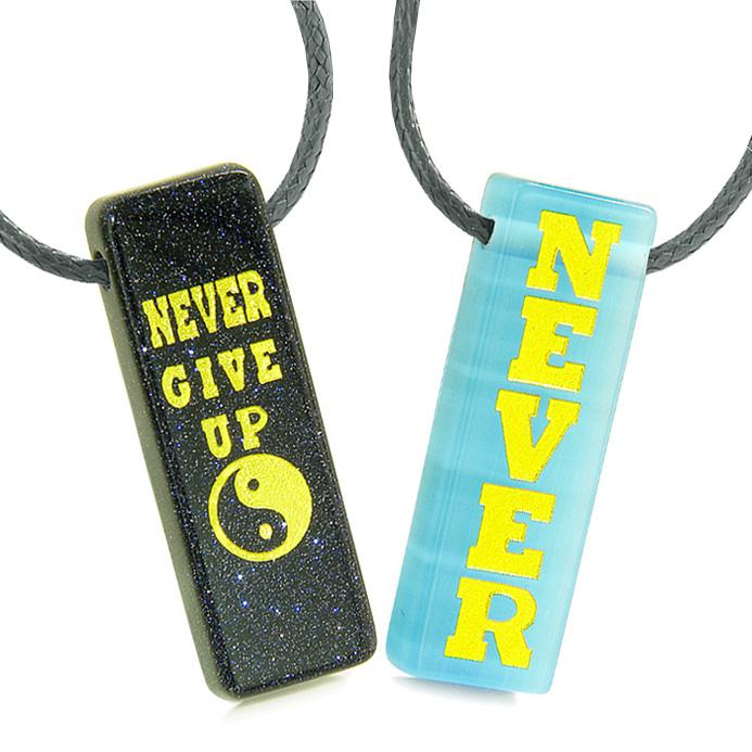 Never Give Up Amulets Couples Best Friends Yin Yang Goldstone Blue Simulated Cats Eye Tag Necklaces