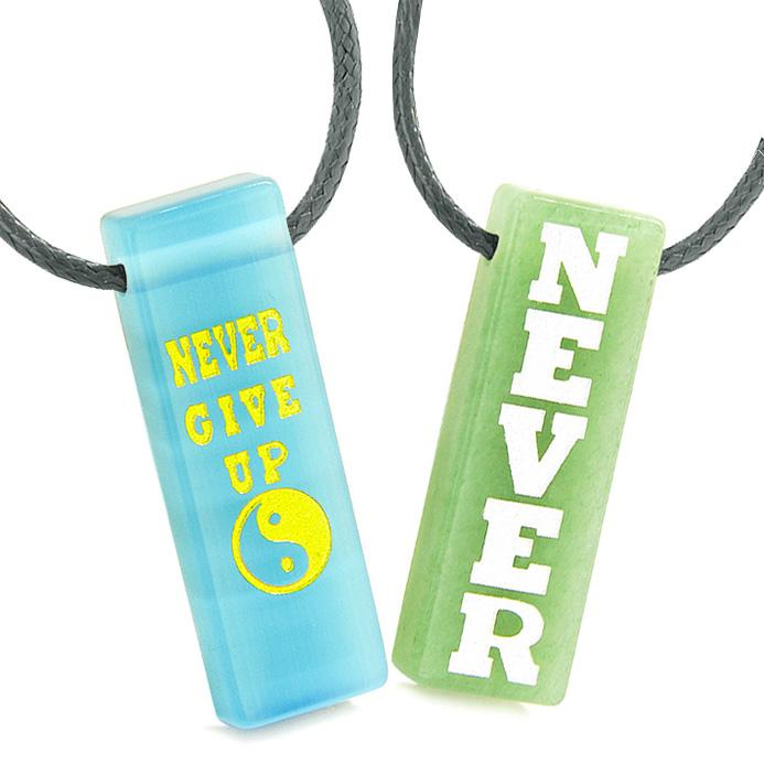 Never Give Up Amulets Love Couples Yin Yang Green Quartz Sky Blue Simulated Cats Eye Tag Necklaces