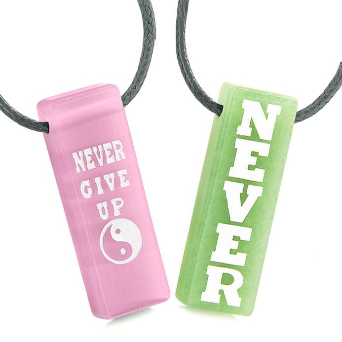Never Give Up Amulets Love Couples Yin Yang Green Quartz Pink Simulated Cats Eye Tag Necklaces