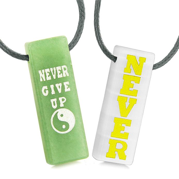 Never Give Up Amulets Love Couples Yin Yang Green Quartz White Simulated Cats Eye Tag Necklaces