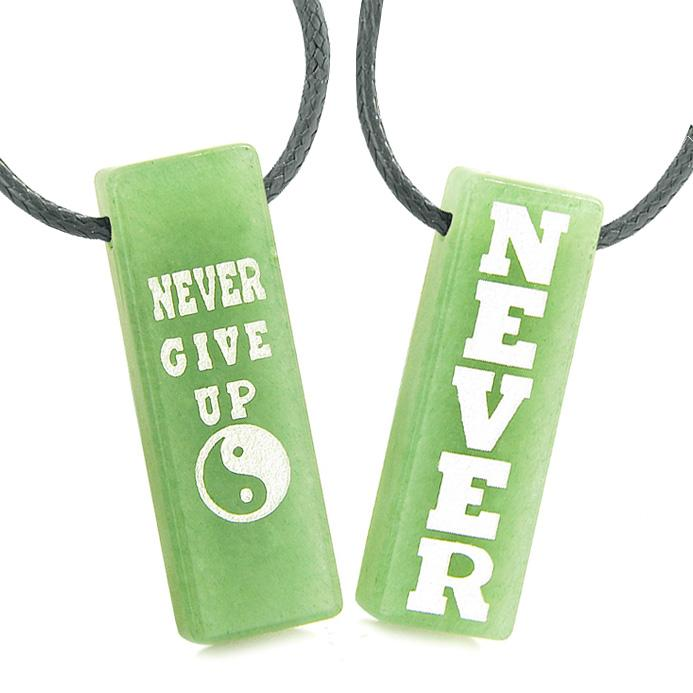 Never Give Up Amulets Love Couples or Best Friends Yin Yang Powers Green Quartz Tag Necklaces