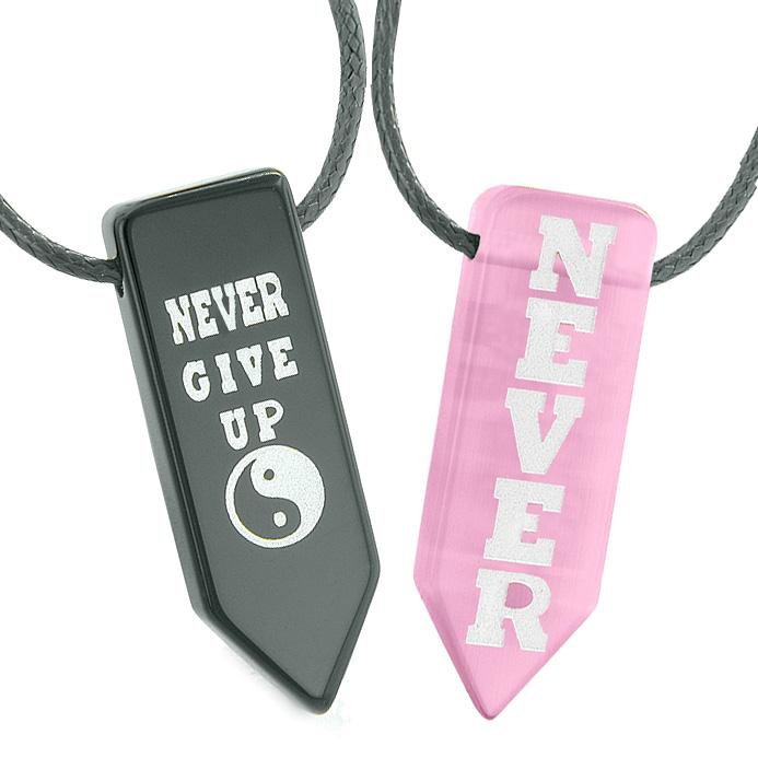 Never Give Up Amulets Love Couples Yin Yang Pink Simulated Cats Eye Agate Arrowhead Necklaces