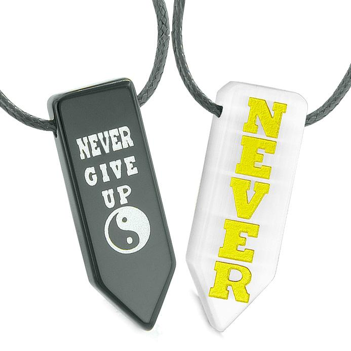 Never Give Up Amulets Love Couples Yin Yang White Simulated Cats Eye Agate Arrowhead Necklaces