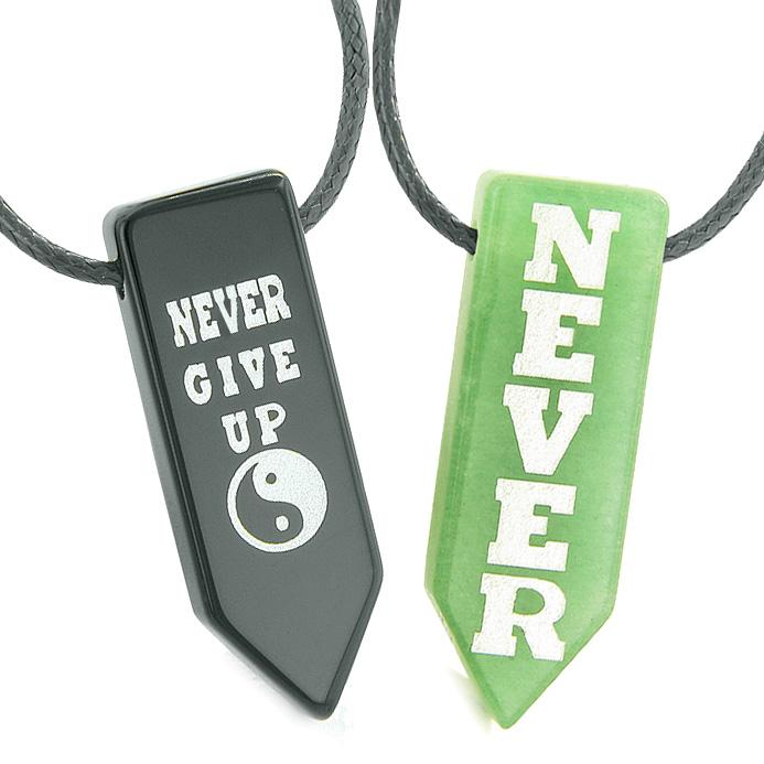 Never Give Up Amulets Love Couples or Best Friends Yin Yang Green Quartz Agate Arrowhead Necklaces