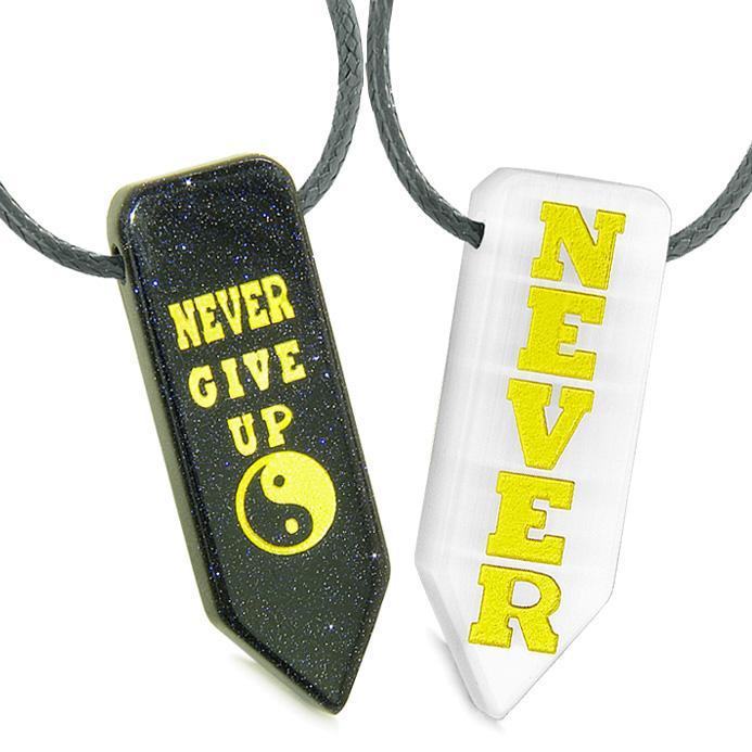 Never Give Up Amulets Love Couples Yin Yang Goldstone White Simulated Cats Eye Arrowhead Necklaces