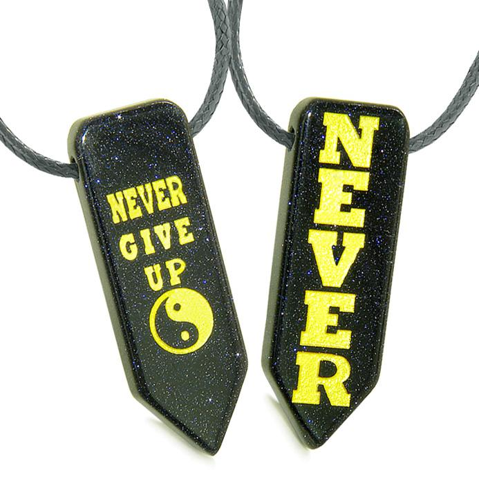 Never Give Up Amulets Love Couples or Best Friends Yin Yang Powers Goldstone Arrowhead Necklaces