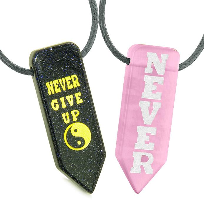 Never Give Up Amulets Love Couples Yin Yang Goldstone Pink Simulated Cats Eye Arrowhead Necklaces