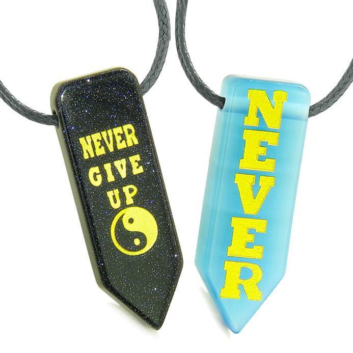 Never Give Up Amulets Love Couples Yin Yang Goldstone Blue Simulated Cats Eye Arrowhead Necklaces