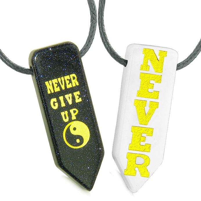 Never Give Up Amulets Love Couples Best Friends Yin Yang Goldstone White Quartz Arrowhead Necklaces