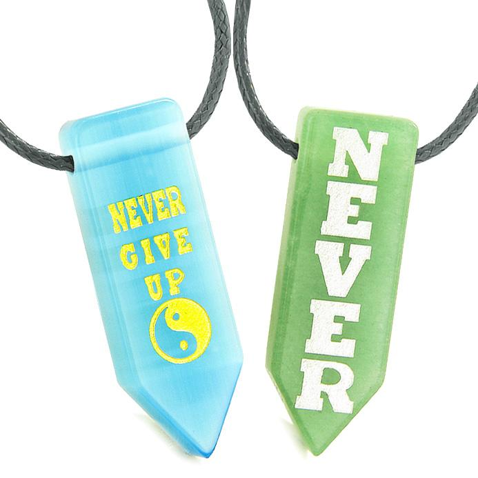 Never Give Up Amulets Couples Yin Yang Green Quartz Blue Simulated Cats Eye Arrowhead Necklaces