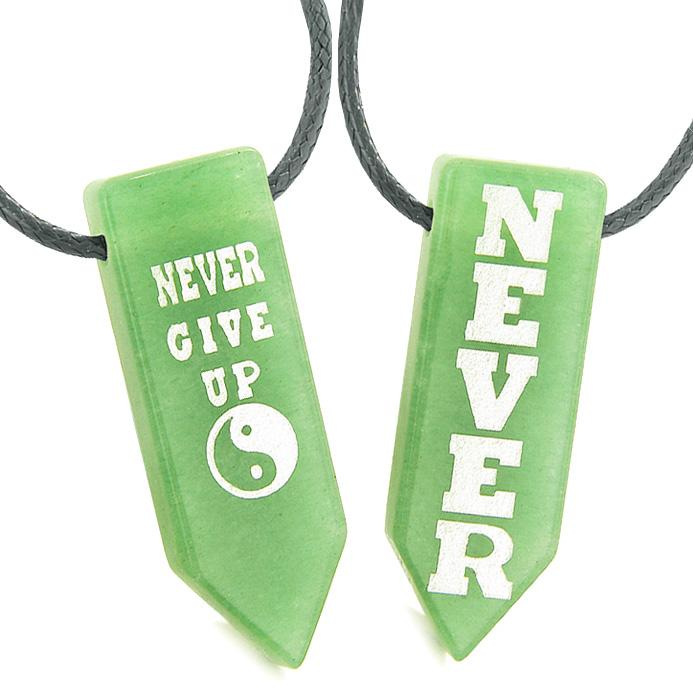 Never Give Up Amulets Love Couples or Best Friends Yin Yang Powers Green Quartz Arrowhead Necklaces