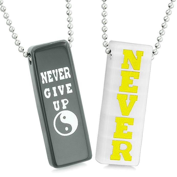 Never Give Up Tags Love Couples or Best Friends Amulets White Simulated Cats Eye Agate Necklaces