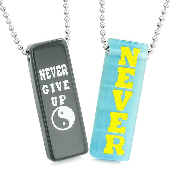 Never Give Up Love Couples or Best Friends Amulets Sky Blue Simulated Cats Eye Agate Necklaces