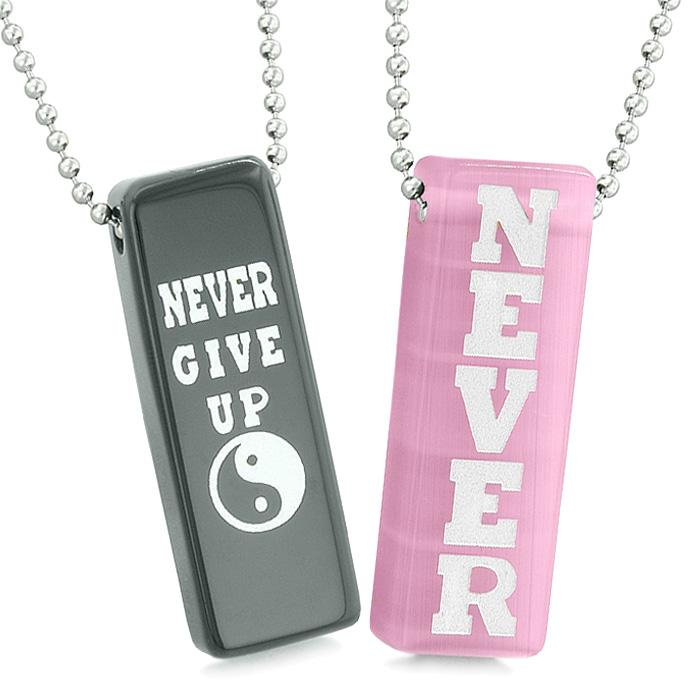 Never Give Up Tags Love Couples Yin Yang Amulets Pink Simulated Cats Eye Black Agate Necklaces
