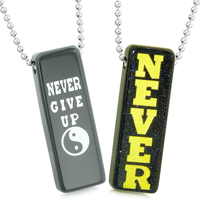 Never Give Up Tags Love Couples or Best Friends Yin Yang Amulets Goldstone Black Agate Necklaces
