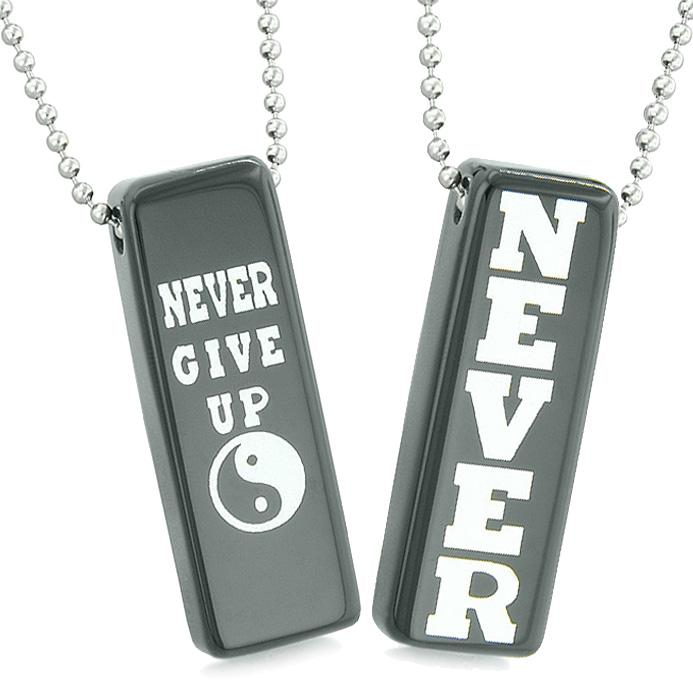 Never Give Up Tags Love Couples or Best Friends Yin Yang Energy Amulets Black Agate Necklaces
