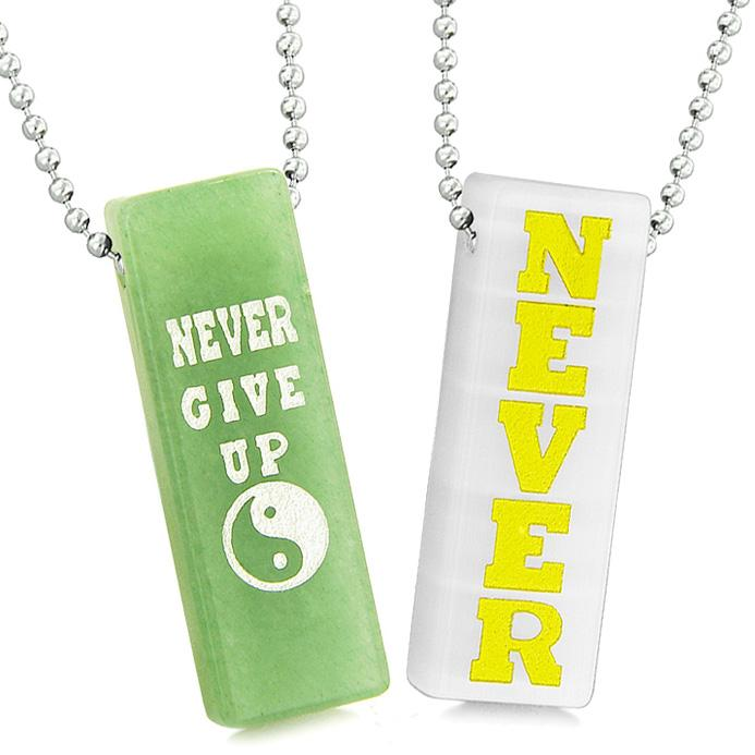 Never Give Up Tags Love Couples Amulets Yin Yang White Simulated Cats Eye Green Quartz Necklaces