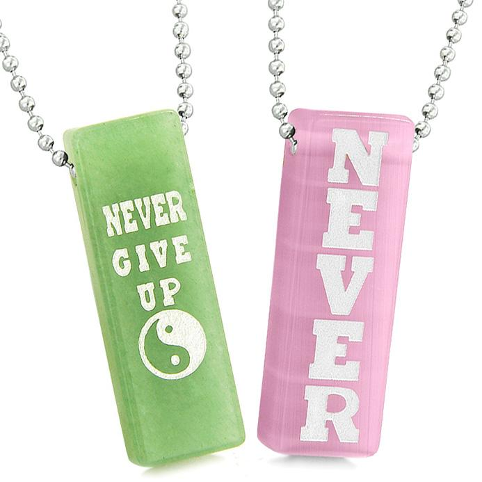 Never Give Up Tags Love Couples Amulets Yin Yang Pink Simulated Cats Eye Green Quartz Necklaces