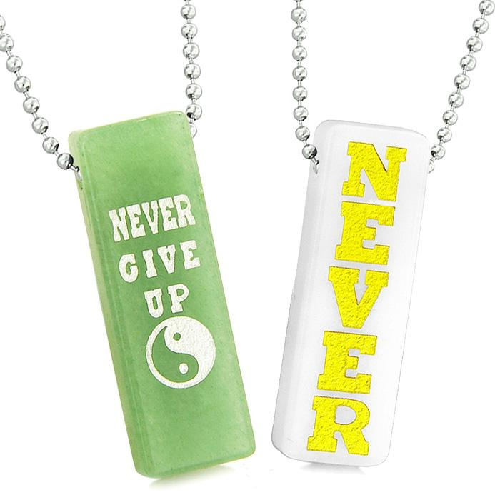 Never Give Up Tags Love Couples Best Friends Amulets Yin Yang White Quartz Green Quartz Necklaces