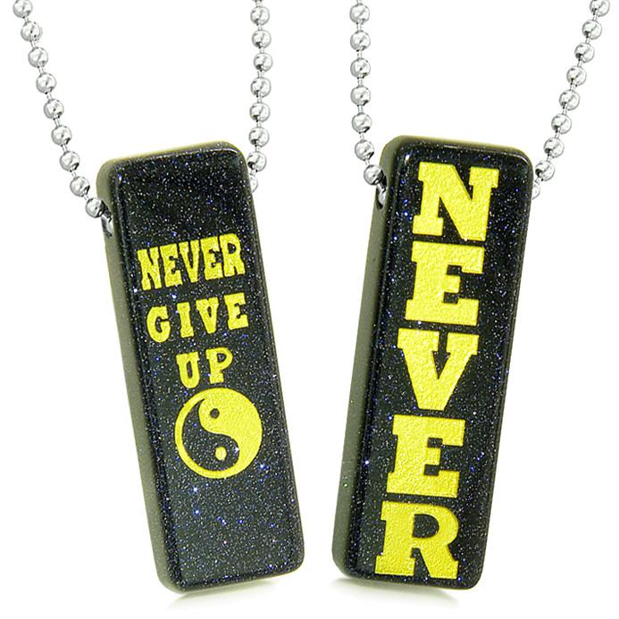 Never Give Up Tags Love Couples Best Friends Yin Yang Powers Amulets Blue Goldstone Necklaces