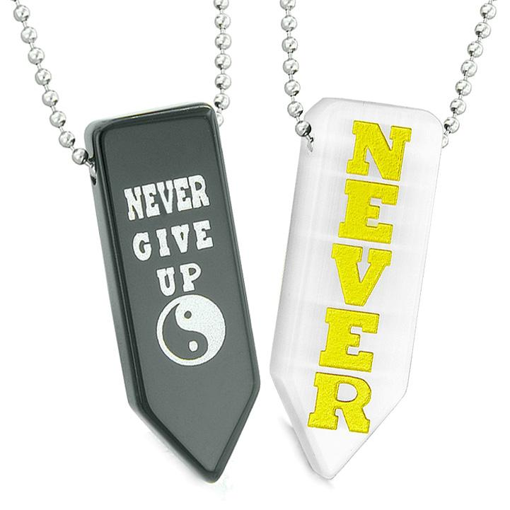 Never Give Up Amulets Yin Yang Love Couples White Simulated Cats Eye Agate Arrowhead Necklaces