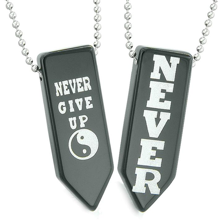 Never Give Up Amulets Yin Yang Energy Powers Love Couples Best Friends Agate Arrowhead Necklaces