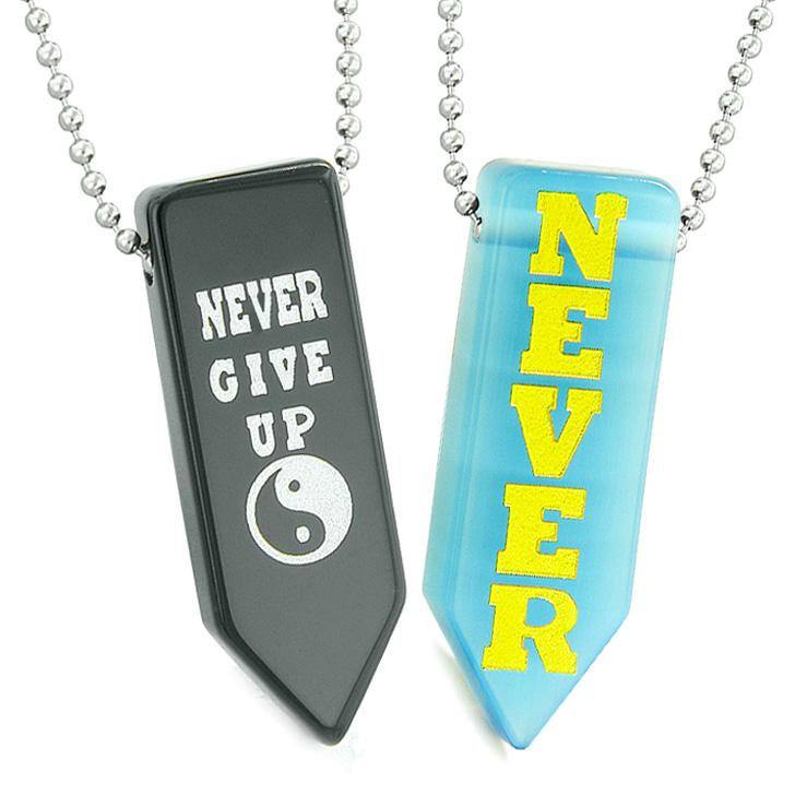 Never Give Up Amulets Yin Yang Love Couples Sky Blue Simulated Cats Eye Agate Arrowhead Necklaces