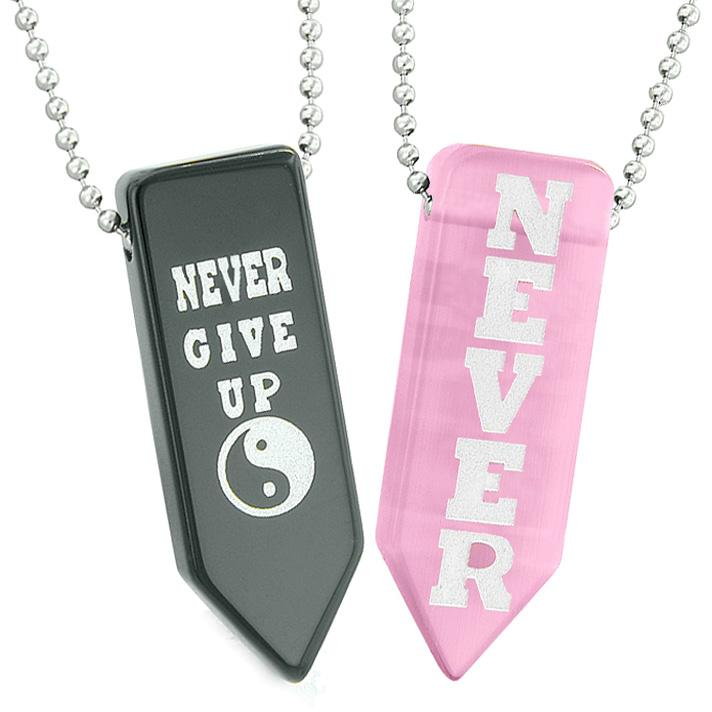 Never Give Up Amulets Yin Yang Love Couples Pink Simulated Cats Eye Black Agate Arrowhead Necklaces