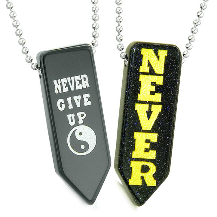 Never Give Up Amulets Yin Yang Couples Best Friends Goldstone Eye Black Agate Arrowhead Necklaces
