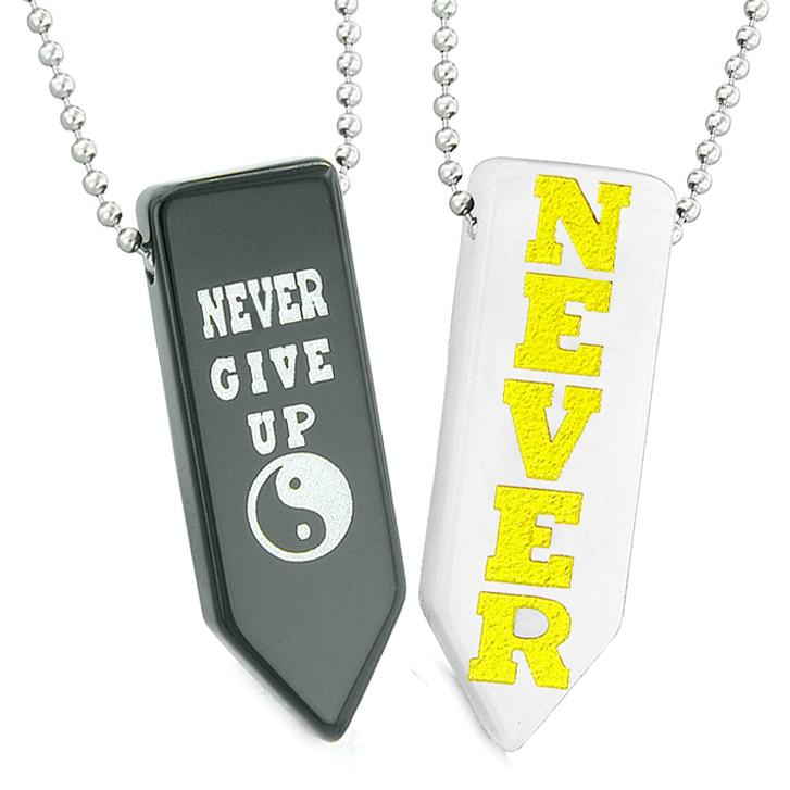 Never Give Up Amulets Yin Yang Couples Best Friends White Quartz Eye Agate Arrowhead Necklaces