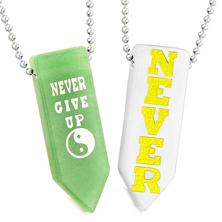 Never Give Up Amulets Yin Yang Couples White Simulated Cats Eye Green Quartz Arrowhead Necklaces