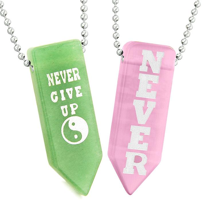 Never Give Up Amulets Yin Yang Couples Pink Simulated Cats Eye Green Quartz Arrowhead Necklaces