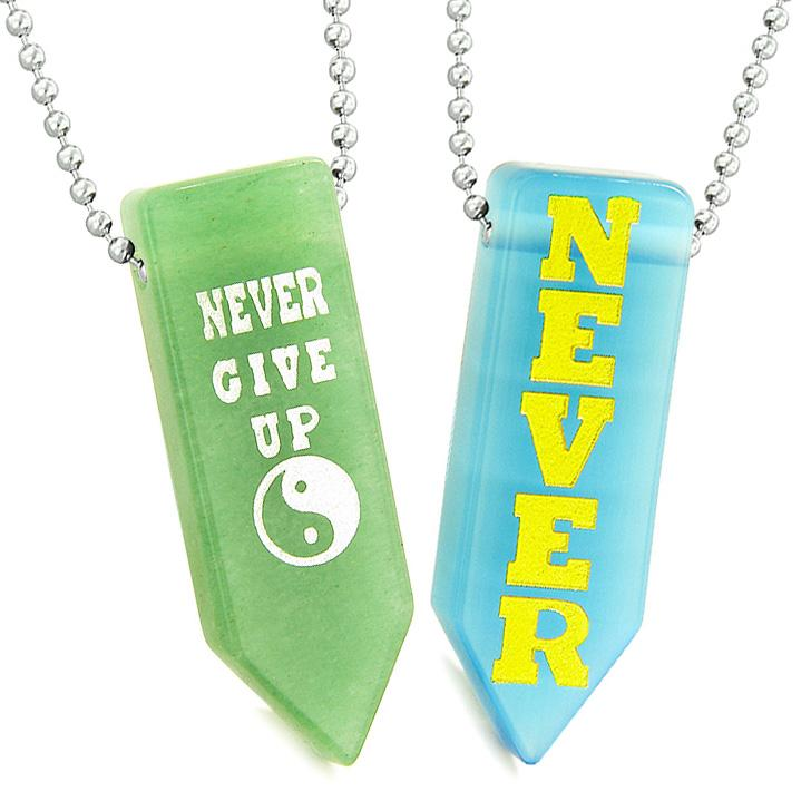 Never Give Up Amulets Yin Yang Love Couple Blue Simulated Cats Eye Green Quartz Arrowhead Necklaces