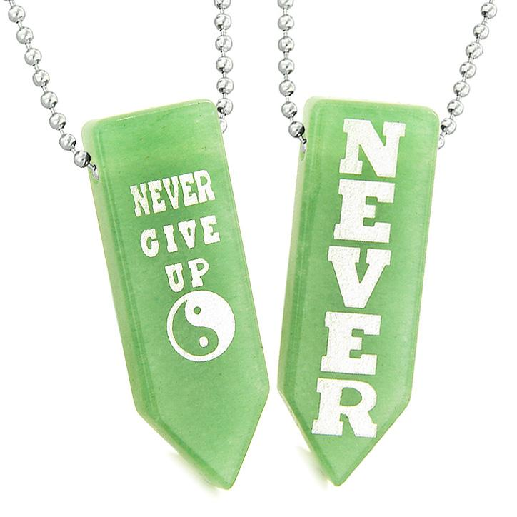 Never Give Up Amulets Yin Yang Energy Love Couples Best Friends Green Quartz Arrowhead Necklaces