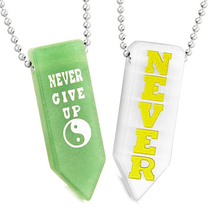 Never Give Up Amulets Yin Yang Couples Best Friends White Quartz Green Quartz Arrowhead Necklaces