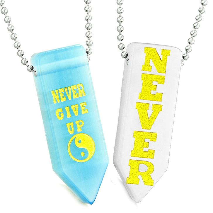 Never Give Up Amulets Yin Yang Love Couples White Quartz Blue Simulated Cat Eye Arrowhead Necklaces