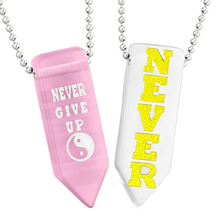 Never Give Up Amulets Yin Yang Couples Best Friend Pink White Simulated Cat Eye Arrowhead Necklaces