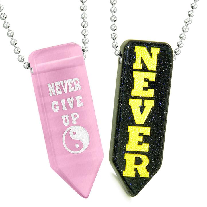 Never Give Up Amulets Yin Yang Couples Blue Goldstone Pink Simulated Cats Eye Arrowhead Necklaces