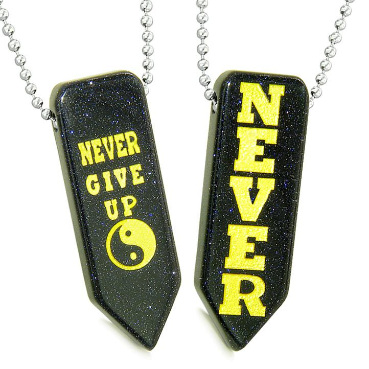 Never Give Up Amulets Yin Yang Energy Love Couples Best Friends Goldstone Arrowhead Necklaces