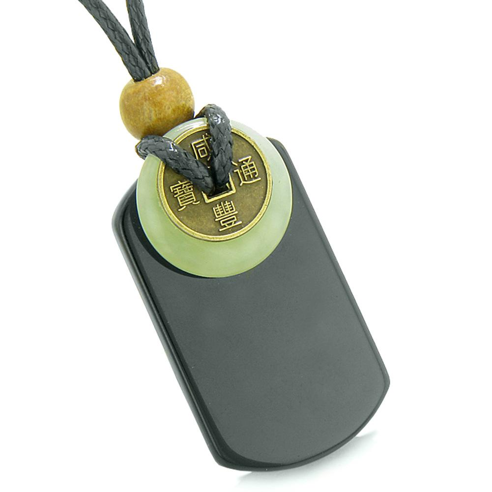Cool Black Agate Tag and Green Serpentine Lucky Coin Donut Amulet Magic Powers Pendant Necklace